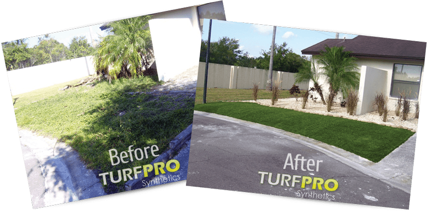 Residential Lawn - Before and After Artificial Turf Grass Installation
